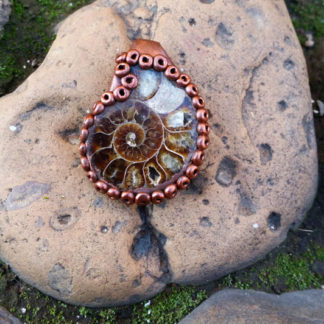 Ammonite and Clay Pendant
