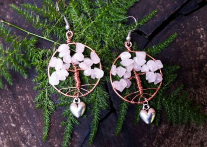 Rose Quartz and Copper Tree of Life Earrings