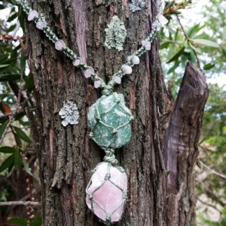 Woven Rose Quartz and Green Aventurine Necklace