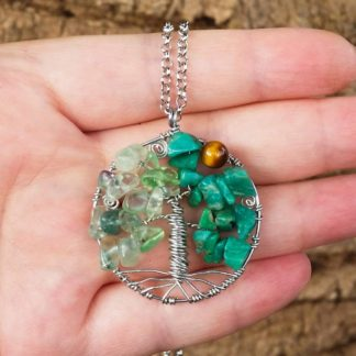 Fluorite, Amazonite & Tiger Eye Tree of Life Pendant