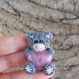 Grey Patch Teddy Pendant with Rose Quartz Heart (Large)