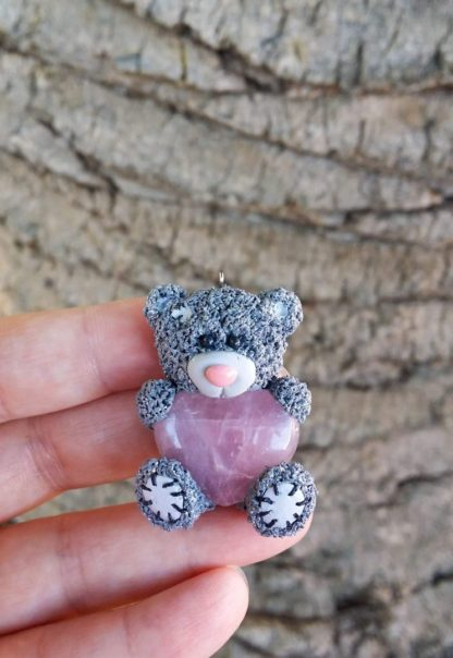 Grey Patch Teddy with Rose Quartz Heart