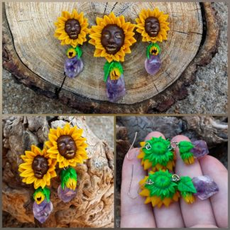 Whimsical Amethyst Sunflower Set