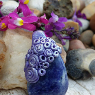 Sodalite and Clay Pendant