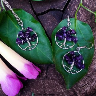 Tiny Amethyst Tree of Life Pendant & Earrings Set