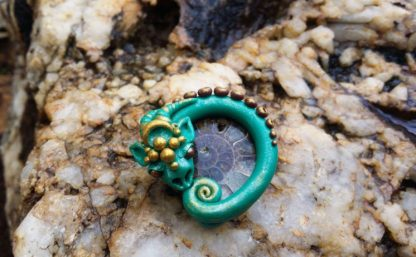 Dragonite Ammonite Fossil and Clay Pendant
