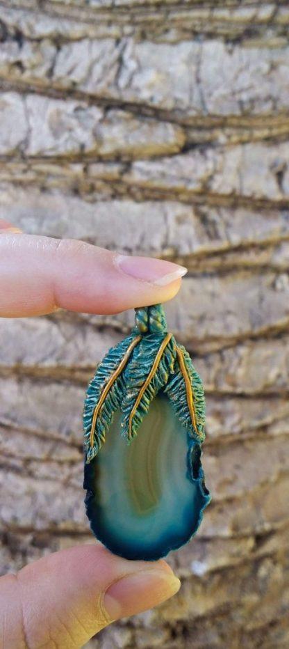 Agate Feather Pendant