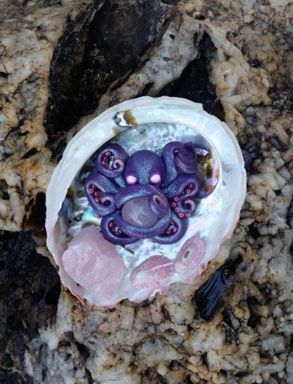 Rose Quartz and Amethyst Octopus
