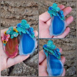 Custom Agate Butterfly Pendant