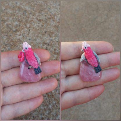 Custom Rose Quartz Parrot