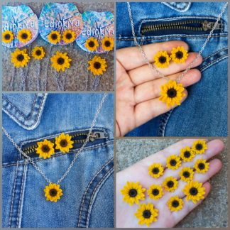 Sunflower necklace and earring set