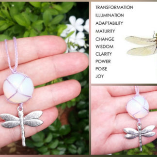 Handwoven Opalite Dragonfly Necklace